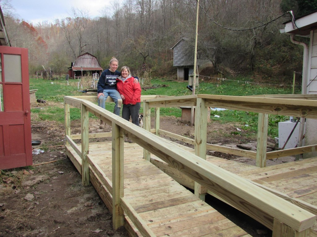 A wheelchair ramp at Peggy & Bill's house